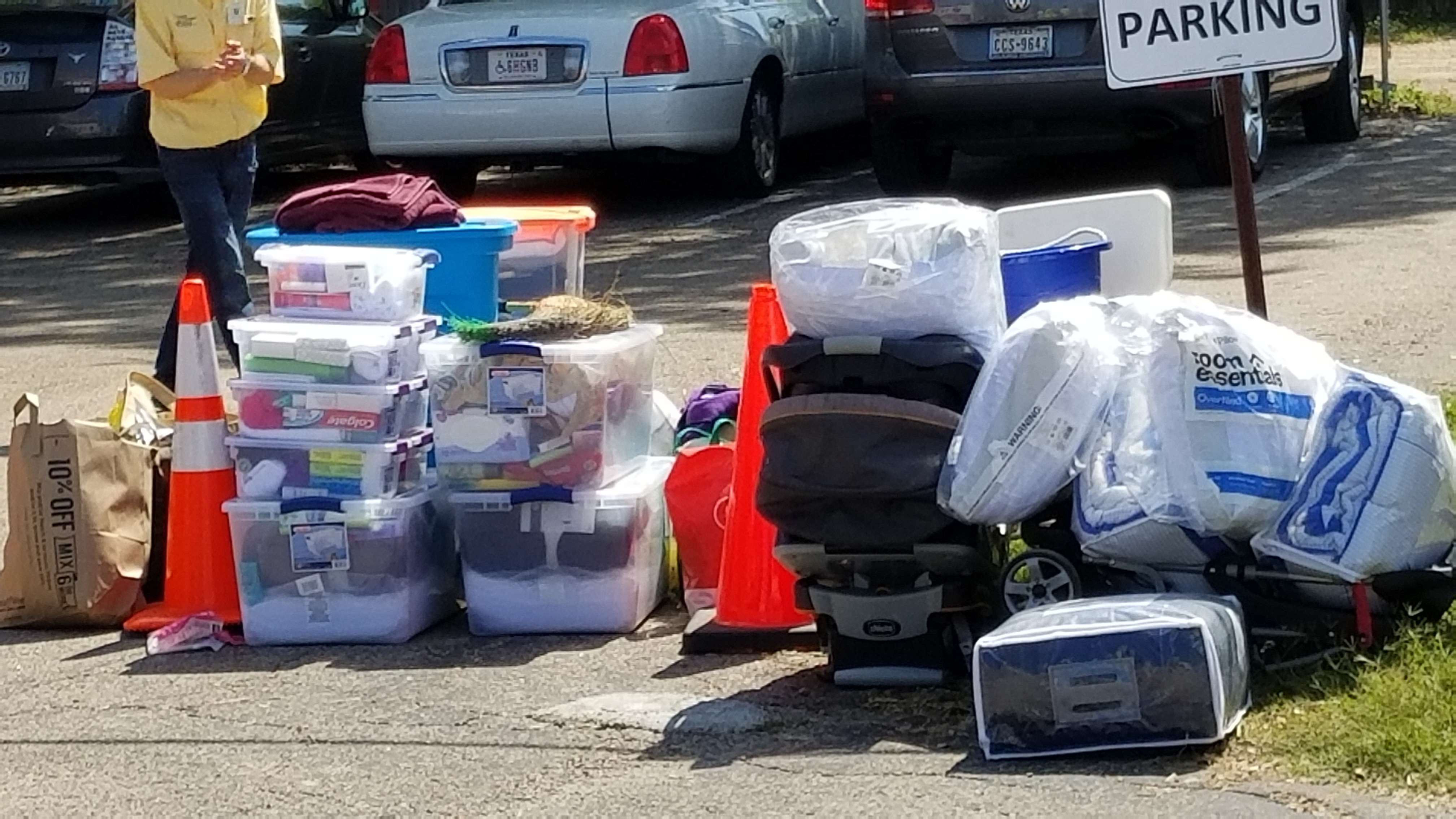 harvey donations in plastic in austin, TX