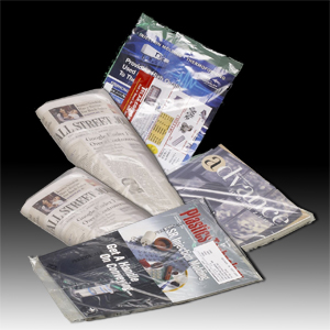photo image of periodicals in Brentwood Plastics USPS approved polywrap